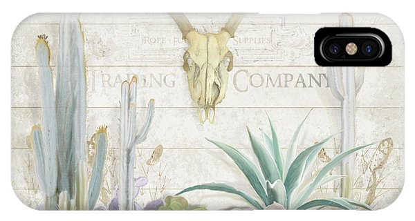 Succulent iPhone Case - Old West Cactus Garden W Deer Skull N Succulents Over Wood by Audrey Jeanne Roberts