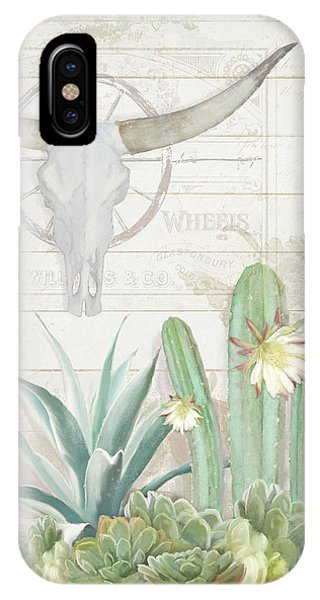 Old West Cactus Garden W Longhorn Cow Skull N Succulents Over Wood IPhone Case