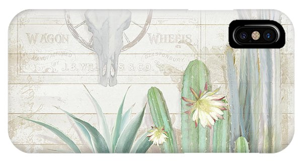 Succulent iPhone Case - Old West Cactus Garden W Longhorn Cow Skull N Succulents Over Wood by Audrey Jeanne Roberts