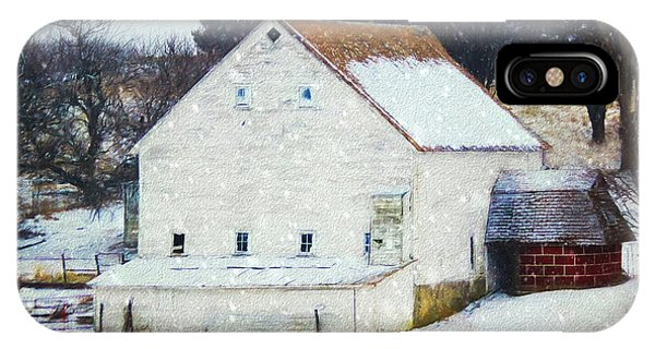 Old White Barn In Snow IPhone Case