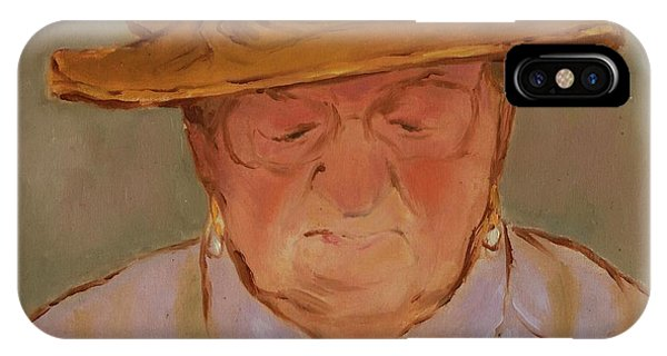 Old Woman With Yellow Hat IPhone Case