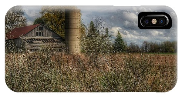 0034 - Old Wooden Barn And Silo IPhone Case