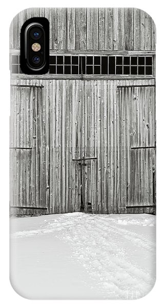 New England Barn iPhone Case - Old Wooden Barn Doors In The Snow by Edward Fielding