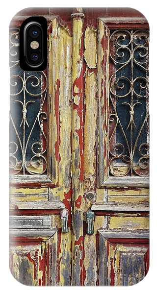 Ironwork iPhone Case - Old Wooden Doors by Carlos Caetano