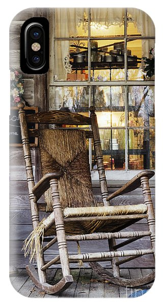 Old Wooden Rocking Chair On A Wooden Porch Phone Case by Jeremy Woodhouse