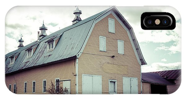 New England Barn iPhone Case - Old Yellow Dairy Barn Hardwick Vermont by Edward Fielding
