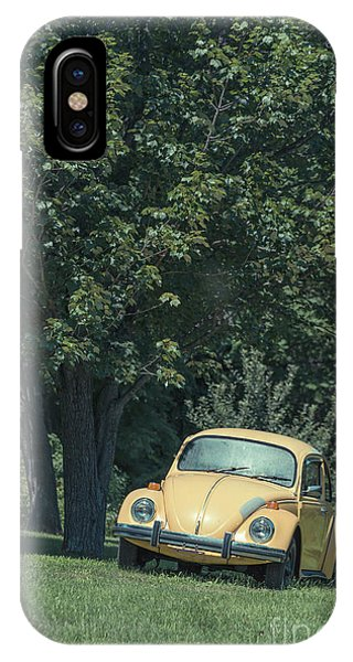 New England Barn iPhone Case - Old Yellow Vw Bug Under A Tree by Edward Fielding