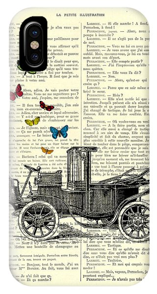 Oldtimer iPhone Case - Oldtimer And Butterflies by Madame Memento