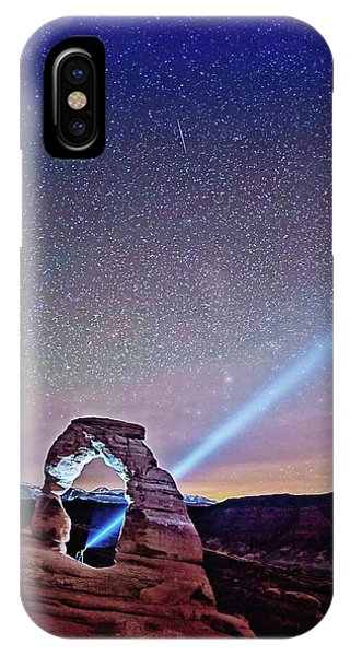 IPhone Case featuring the digital art Olena Art Starry Night Pointer At Delicate Arch Moab National Park by OLena Art Brand