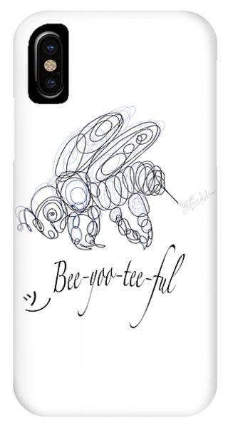 IPhone Case featuring the drawing Olena Art Tee Design Bee-yoo-tee-ful Drawing by OLena Art Brand