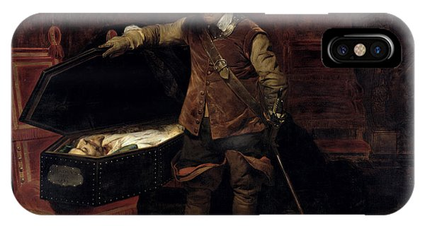 King Charles iPhone Case - Oliver Cromwell Opening The Coffin Of Charles I  by Hippolyte Delaroche
