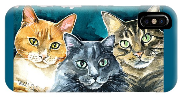 Oliver, Willow And Walter - Cat Painting IPhone Case