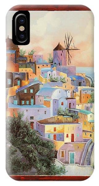 Windmill iPhone Case - oltre la finestra il mulino a Santorini by Guido Borelli