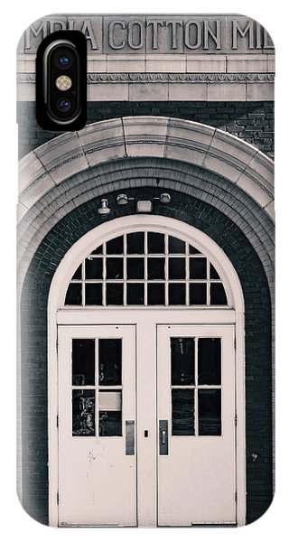 IPhone Case featuring the photograph Olympia Cotton Mills Entrance B W 1 by Joseph C Hinson Photography