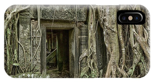 Angkor Thom iPhone Case - Tomb Raider Door #2 by Stephen Stookey