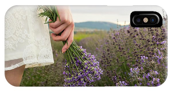 On Lavender Field Girl In White Dress Holding Bouquet IPhone Case