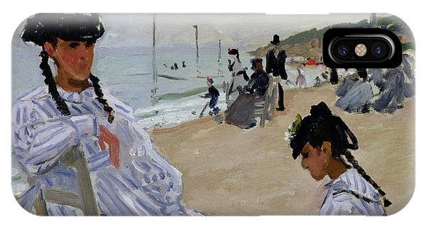 Relaxation iPhone Case - On The Beach At Trouville by Claude Monet