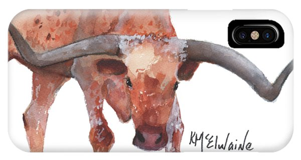 On The Level Texas Longhorn Watercolor Painting By Kmcelwaine IPhone Case