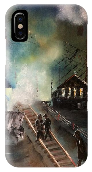 IPhone Case featuring the painting On The Pennsylvania Tracks by Denise Tomasura