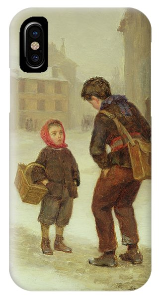 On The Way To School In The Snow IPhone Case