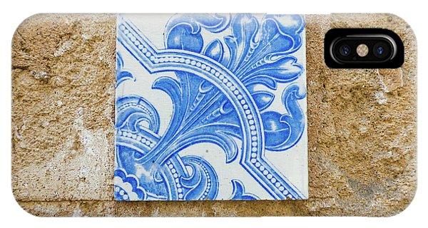 One Blue Vintage Tile  IPhone Case