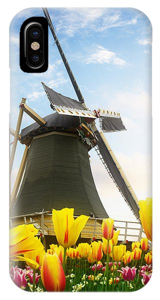 One Dutch Windmill Over  Tulips IPhone Case