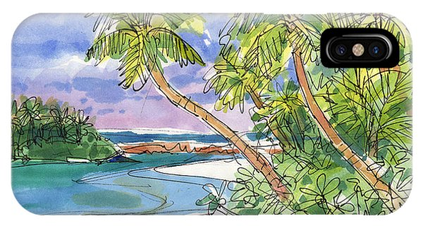 IPhone Case featuring the painting One-foot-island, Aitutaki by Judith Kunzle