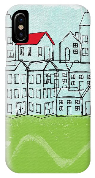 Green Fields iPhone Case - One Red Roof by Linda Woods