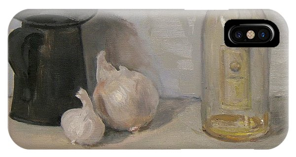 Onion And Garlic,tin Can, And Painting Medium Bottle IPhone Case
