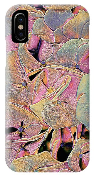 IPhone Case featuring the mixed media Opal Hydrangea by Susan Maxwell Schmidt