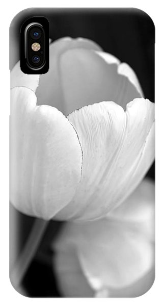 Black Tulip iPhone X Case - Opening Tulip Flower Black And White by Jennie Marie Schell