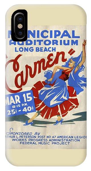 Opera Carmen In Long Beach - Vintage Poster Folded IPhone Case