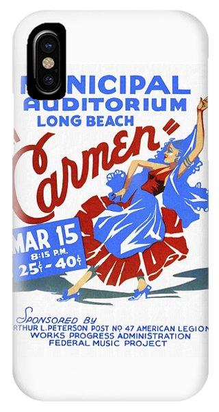 Opera Carmen In Long Beach - Vintage Poster Restored IPhone Case
