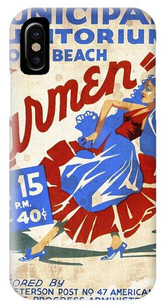 Opera Carmen In Long Beach - Vintage Poster Vintagelized IPhone Case