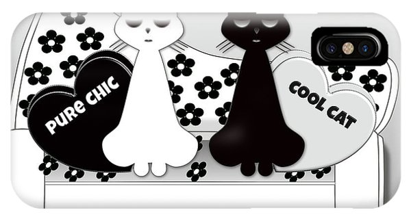 Opposites Attract - Black And White Cats On The Sofa IPhone Case
