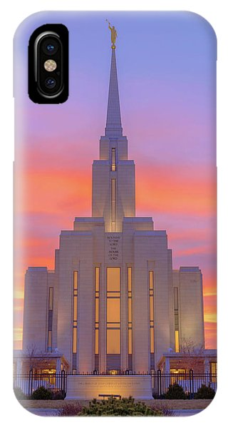 Spring Mountains iPhone Case - Oquirrh Mountain Temple IIi by Chad Dutson