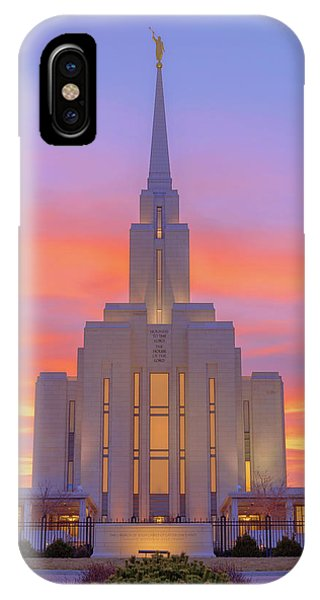 Temple iPhone Case - Oquirrh Mountain Temple IIi by Chad Dutson