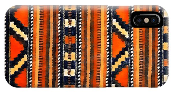 IPhone Case featuring the mixed media Orange Abstact Pattern Lines And Stripes by Lita Kelley