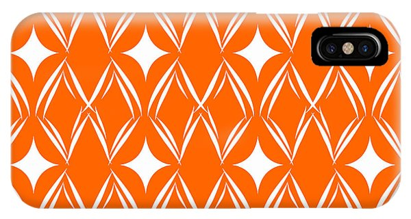 Diamond iPhone Case - Orange And White Diamonds by Linda Woods