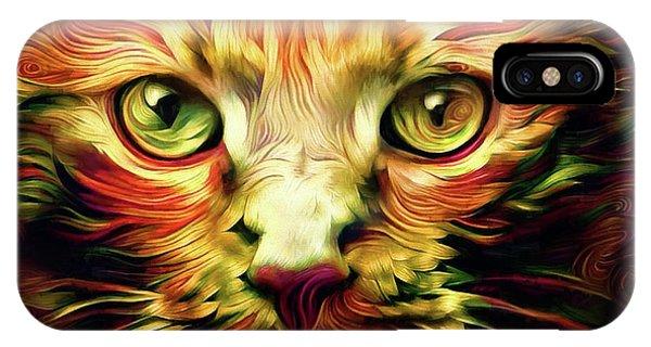 Orange Cat Art - Feed Me IPhone Case