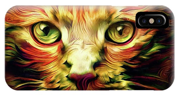Orange Cat Art - Feed Me IPhone Case