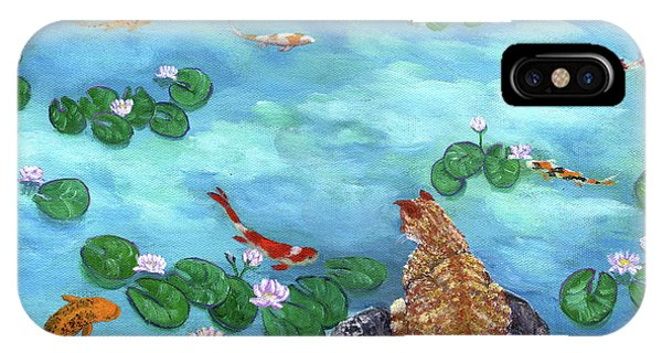 Tabby iPhone Case - Orange Cat At Koi Pond by Laura Iverson