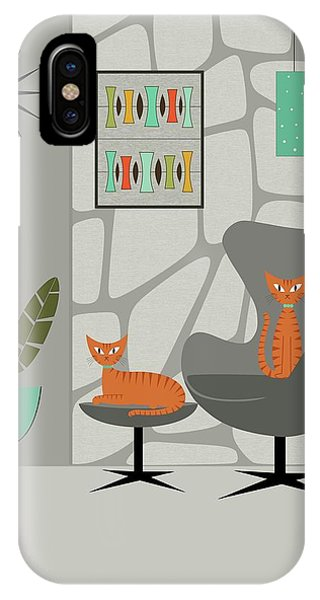 Orange Cat In Gray Stone Wall IPhone Case