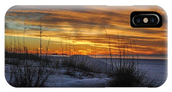 Orange Clouded Sunrise Over The Pier IPhone Case