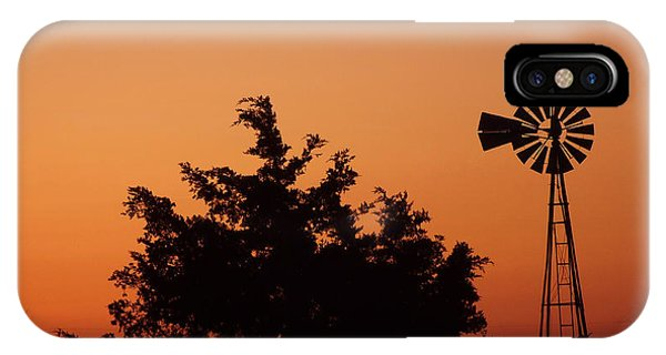 Orange Dawn With Windmill IPhone Case