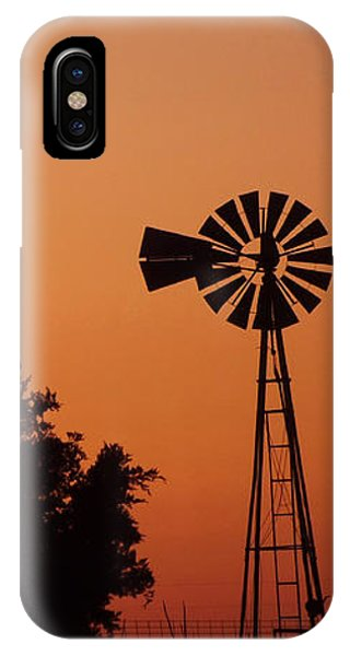 Orange Dawn With Windmill IPhone Case