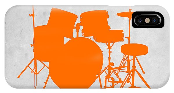 Drum iPhone Case - Orange Drum Set by Naxart Studio