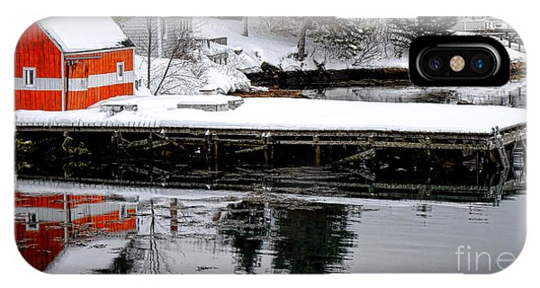 Orange Fishing Shack On A Dock In Maine IPhone Case