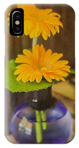 Orange Flowers Blue Vase IPhone Case