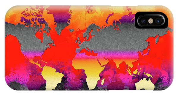 New Trend iPhone Case - Orange Glow World Map by Zaira Dzhaubaeva
